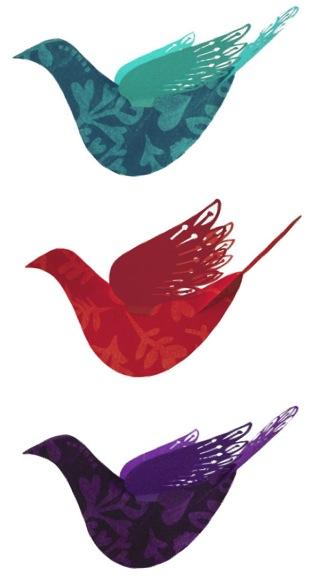 """Lush Designs hanging bird decorations"""