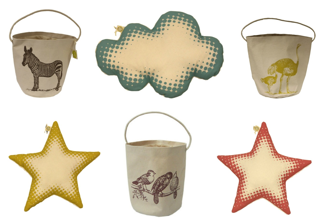 """""""star cushions and toy storage buckets"""""""