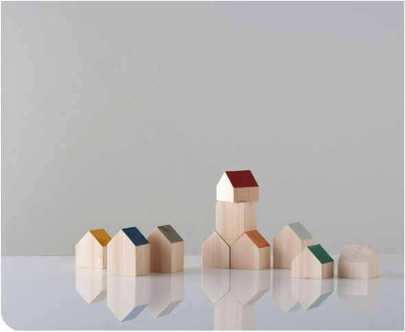 """wooden house shaped blocks for kids"""
