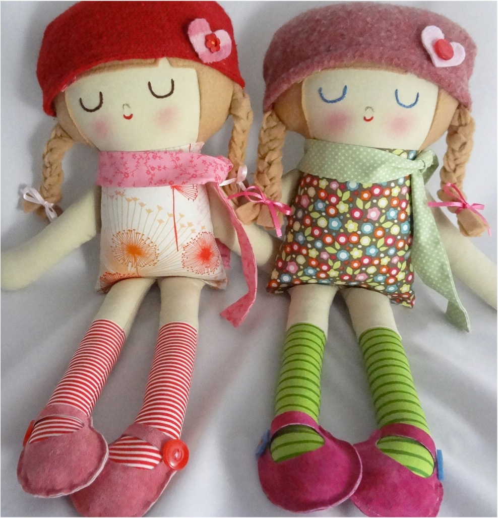 """hand made dolls with vintage fabrics"""