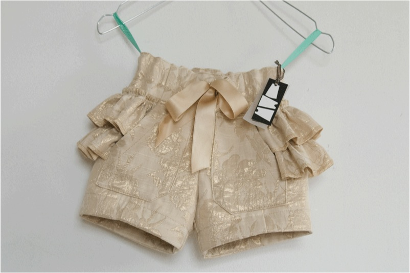 """gold ruffle shorts for girls"""