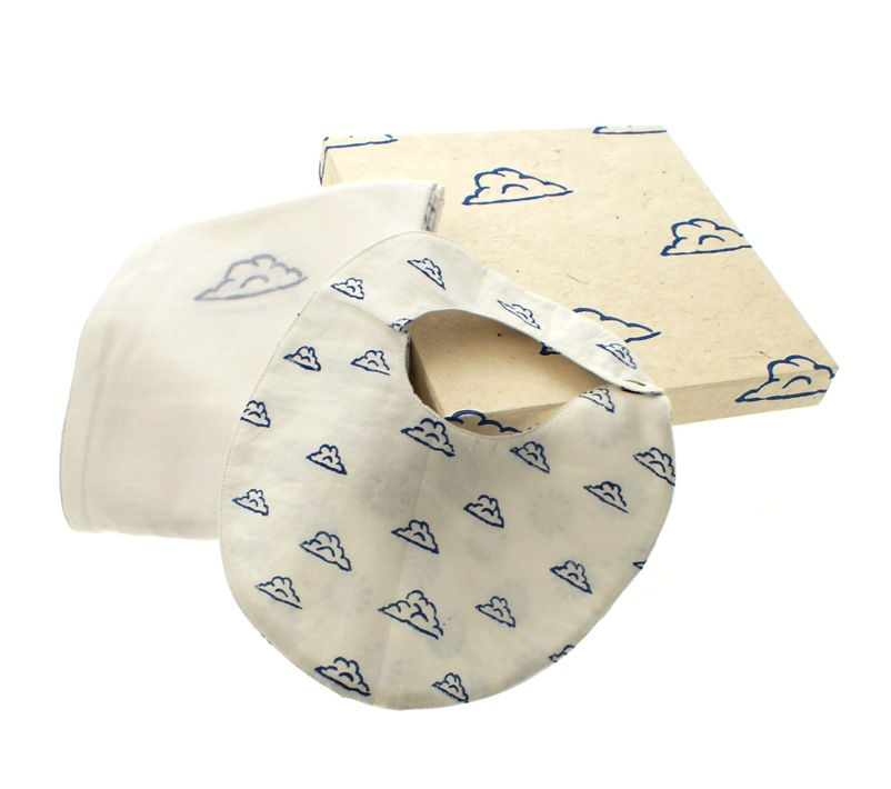 """clouds bib and swaddle blanket"""