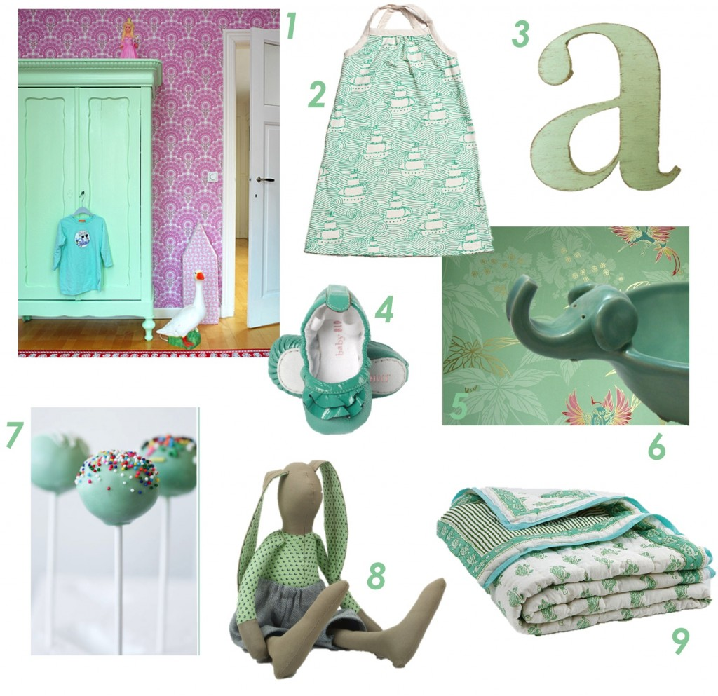 """mint green toys, clothes and accessories for kids"""