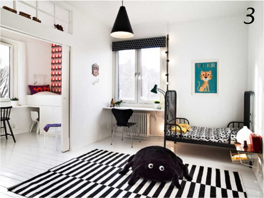 """black and white kids room decor"""