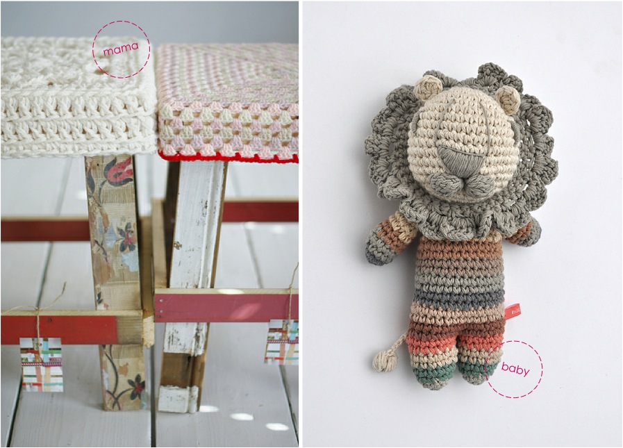 """crochet lion toy, crochet stool"""