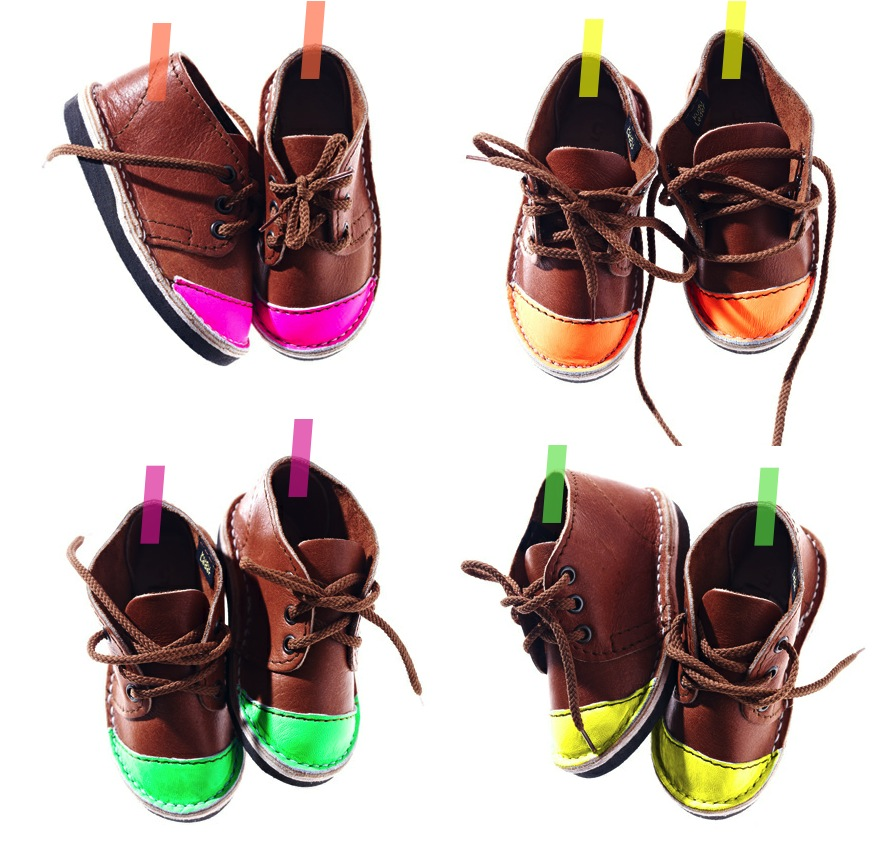 """""""neon toed leather shoes kids"""""""