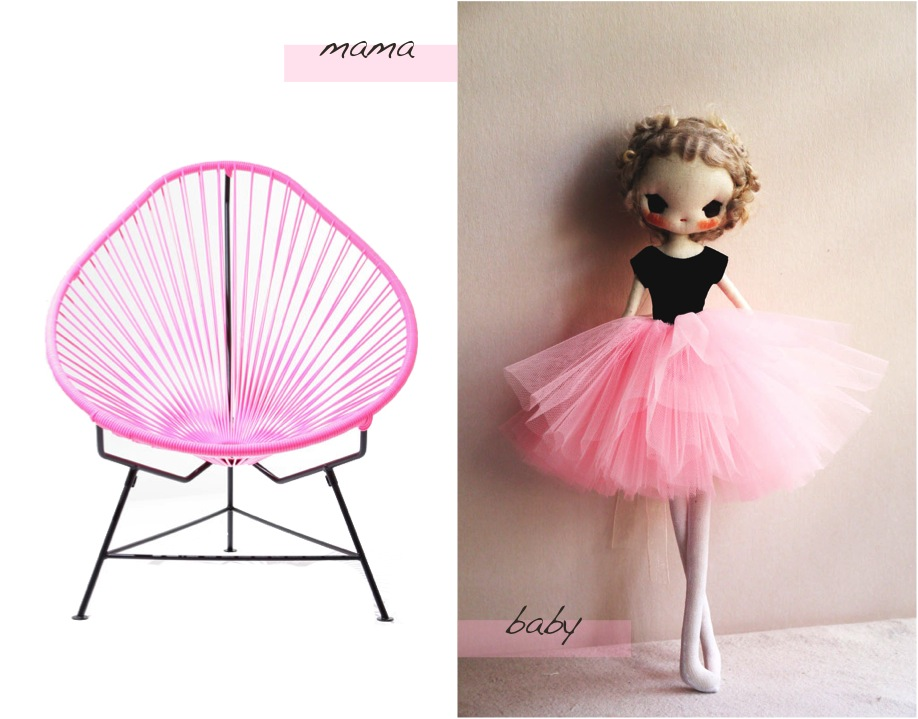 """ballerina doll acapuclo chair pink"""