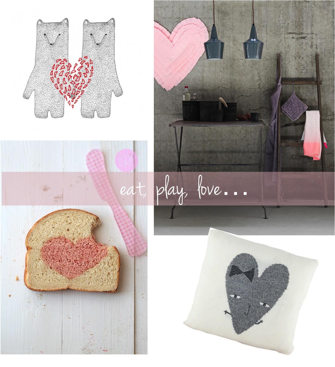 """heart cushion, heart bread, heart poster"""