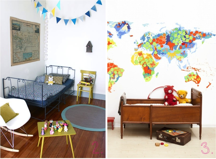 """map art in kids rooms"""