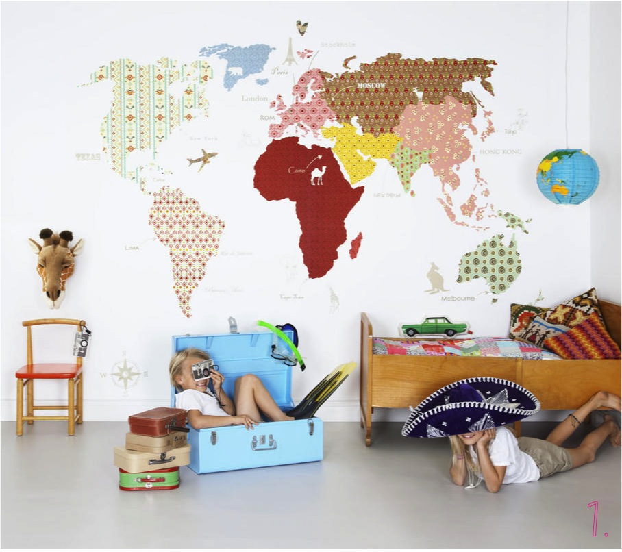 """world map wallpaper kids rooms"""