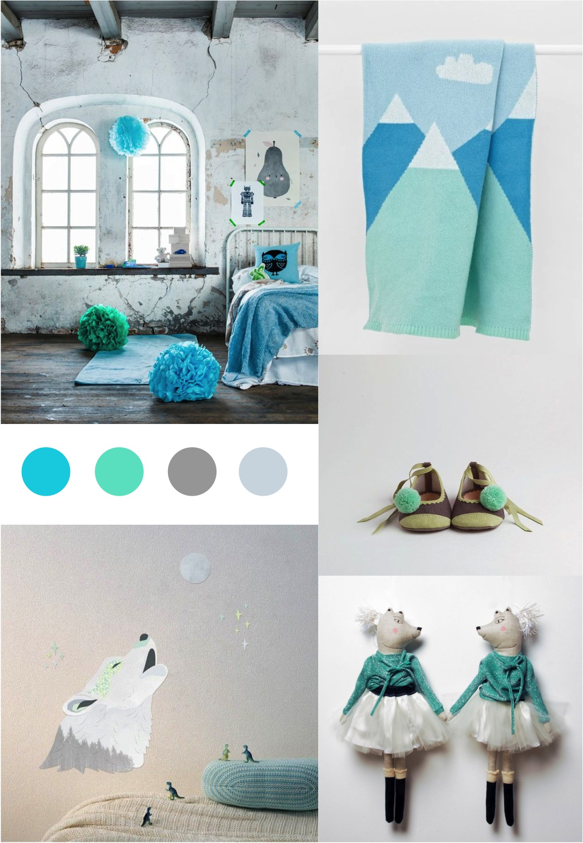 """""""colour palette of blues, greens, greys"""""""