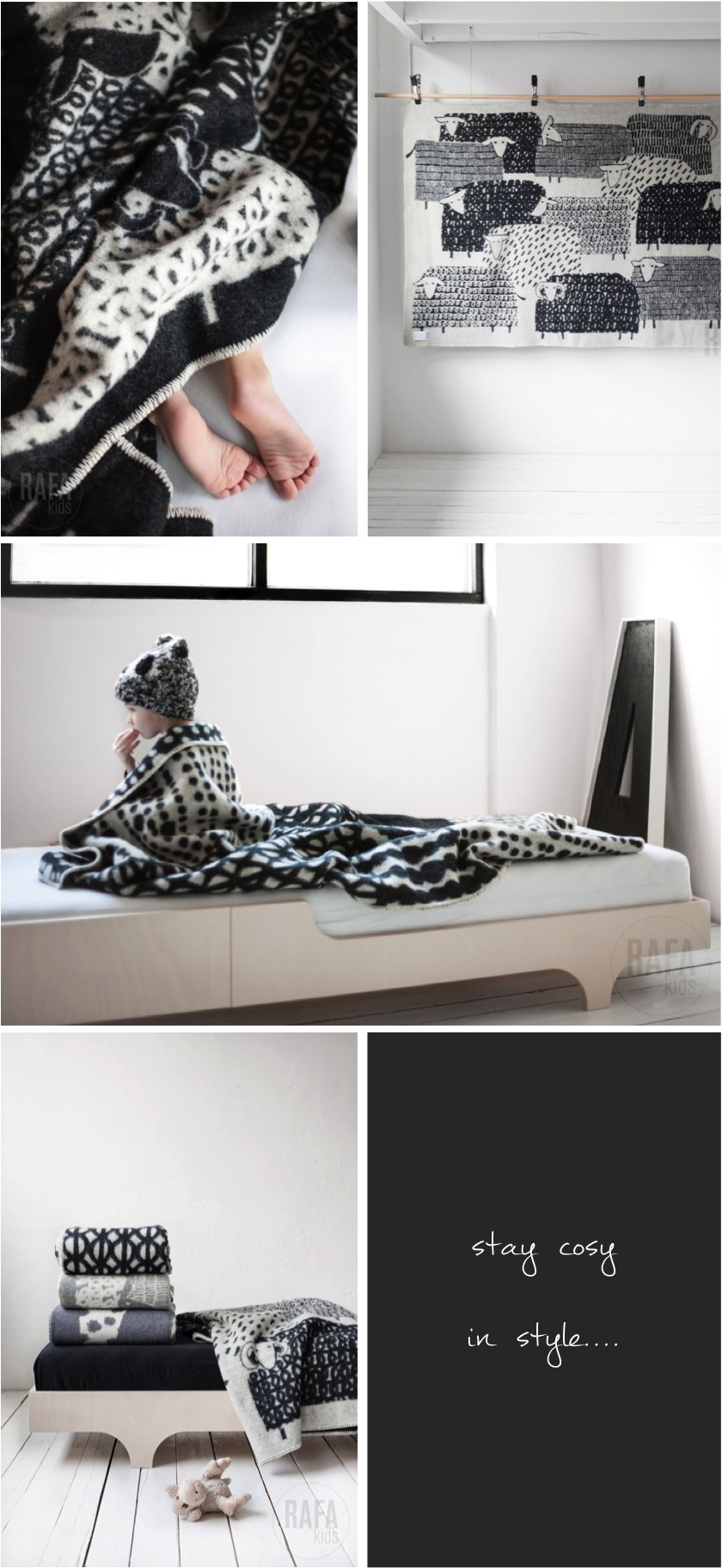 """black and white blankets for kids"""
