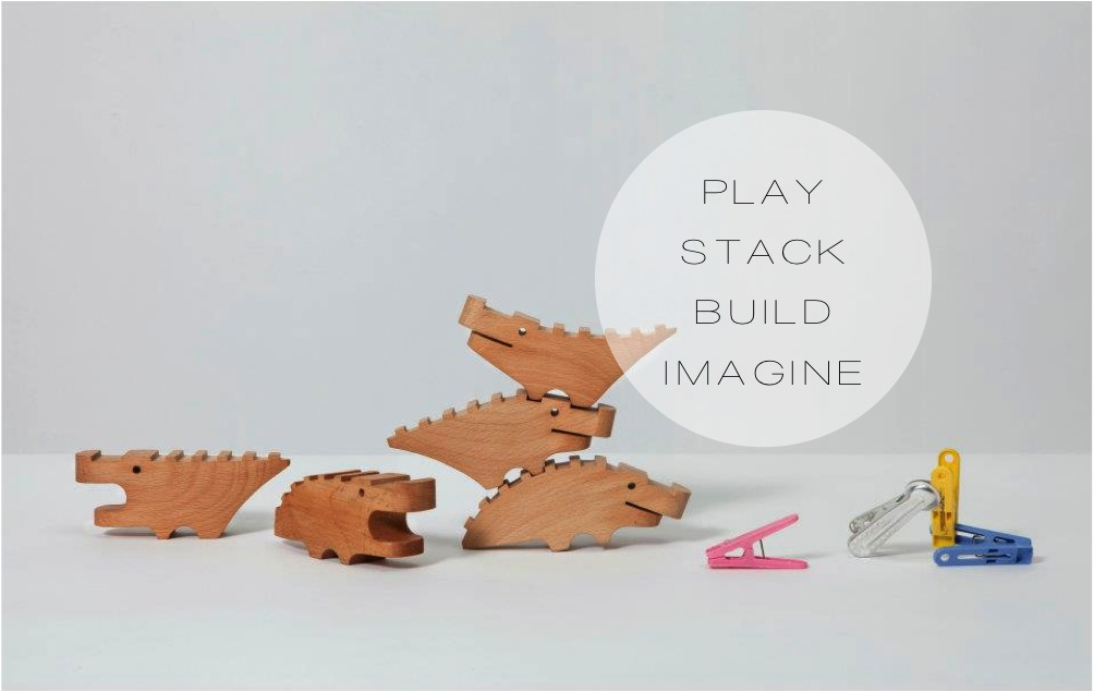"""wooden stacking crocodile toy"""
