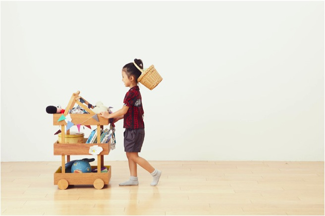 """portable wooden toy storage"""