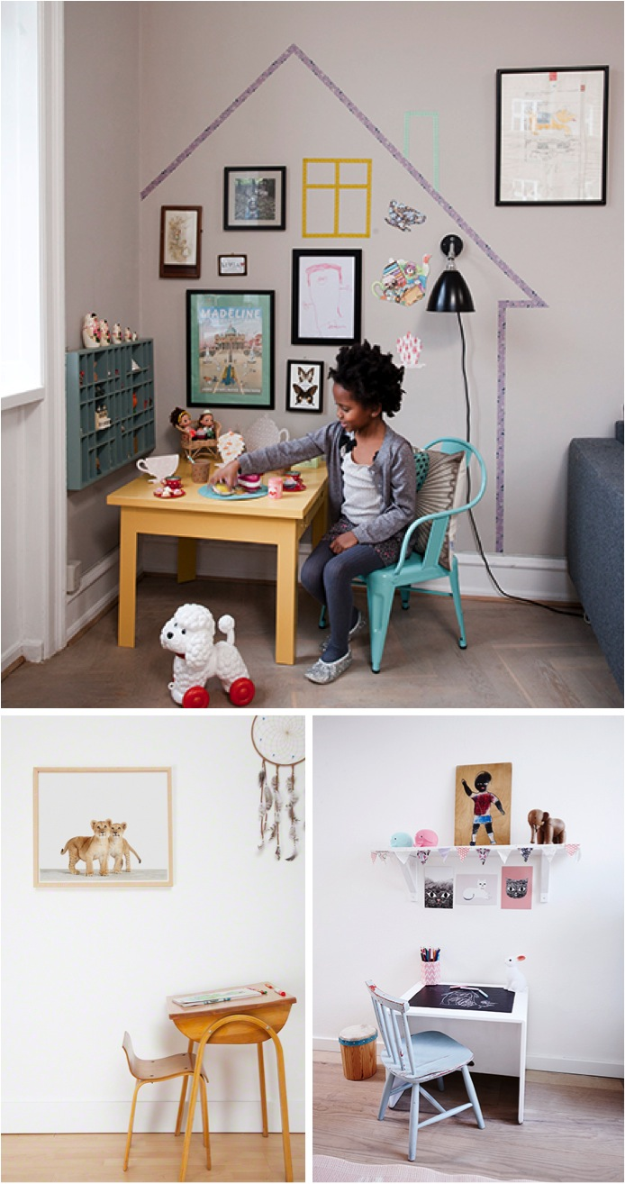"""vintage and modern desk spaces for kids"""