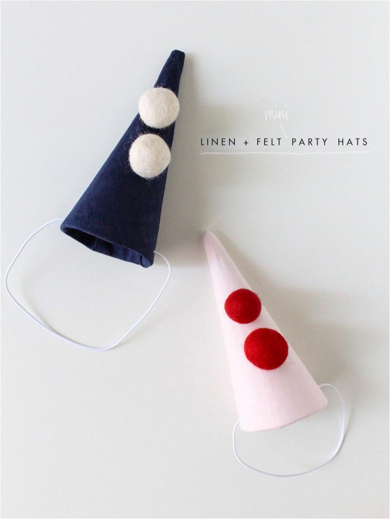 """DIY linen kids party hats"""
