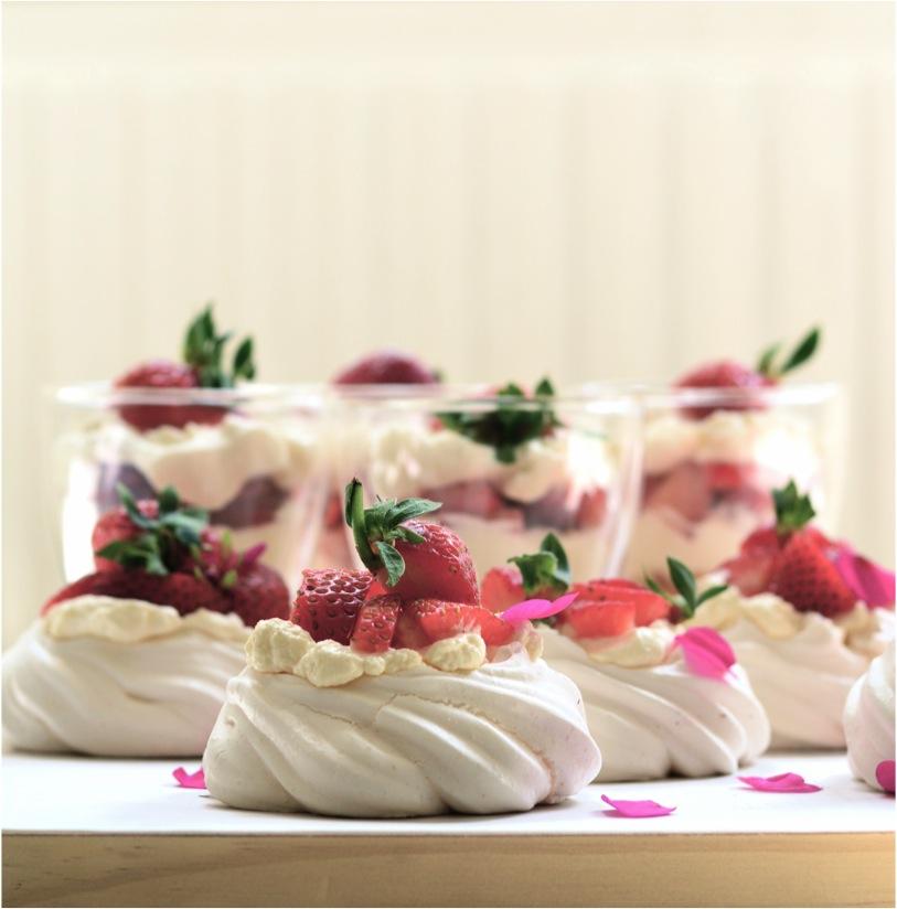 """mini strawberry meringues"""