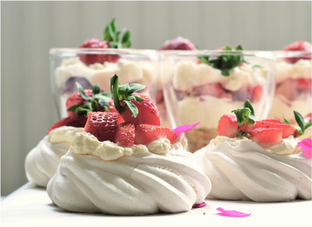 """strawberries and cream with meringue"""