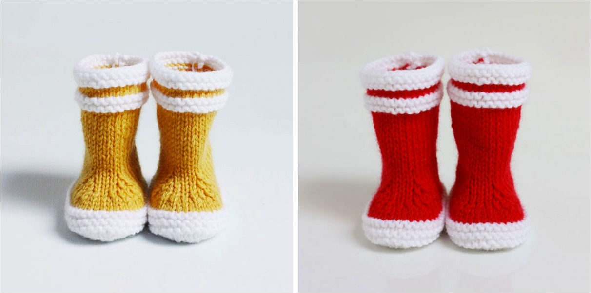"""knitted yellow baby booties"""