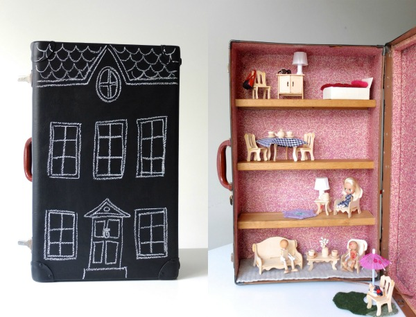 DIY dolls house in a suitcase