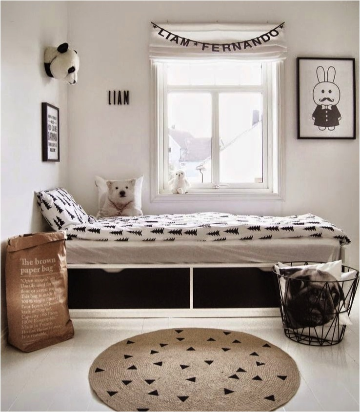 black and white childrens room