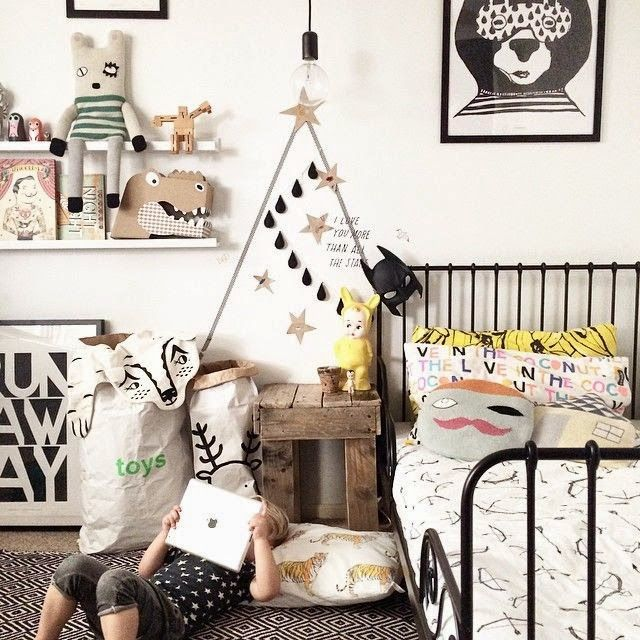 black and white ecclectic kids room