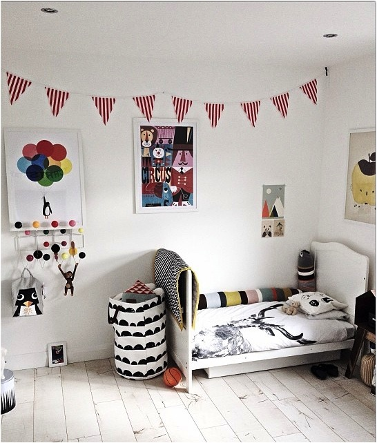 black and white kids room colour accents