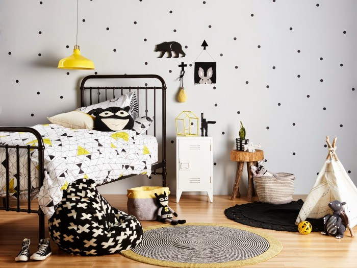 black and white kids room yellow accents