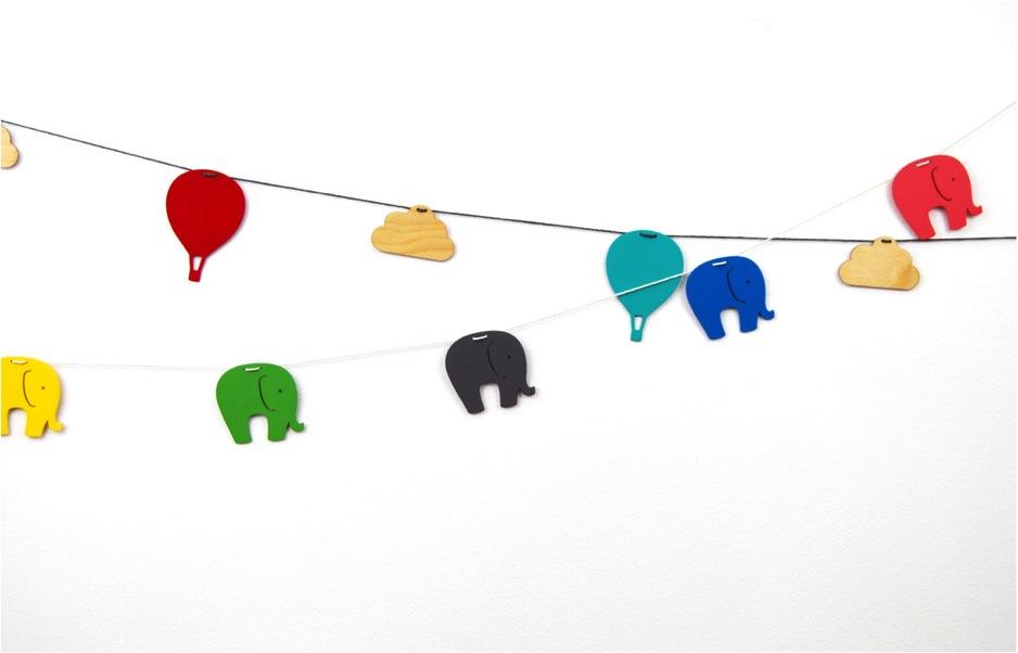 colourful elephant mobile nursery