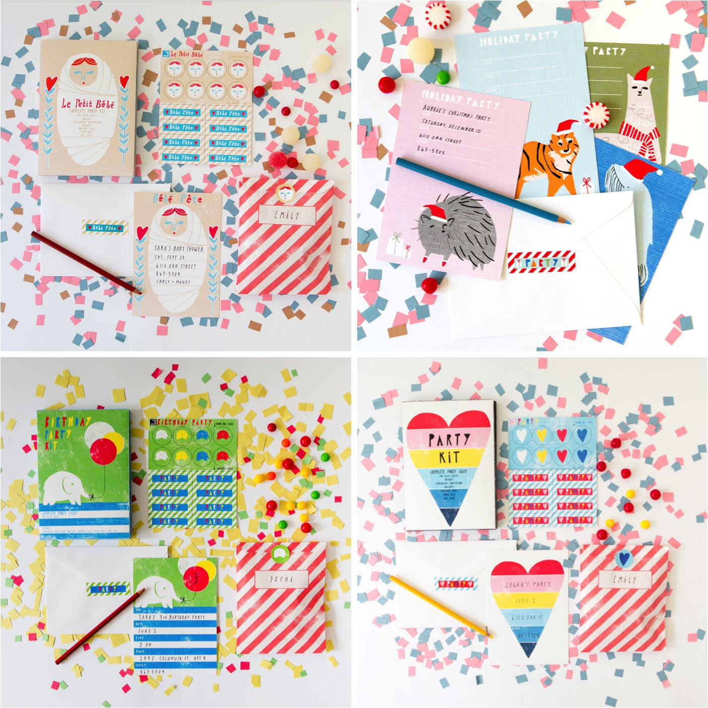 kids party invite sets