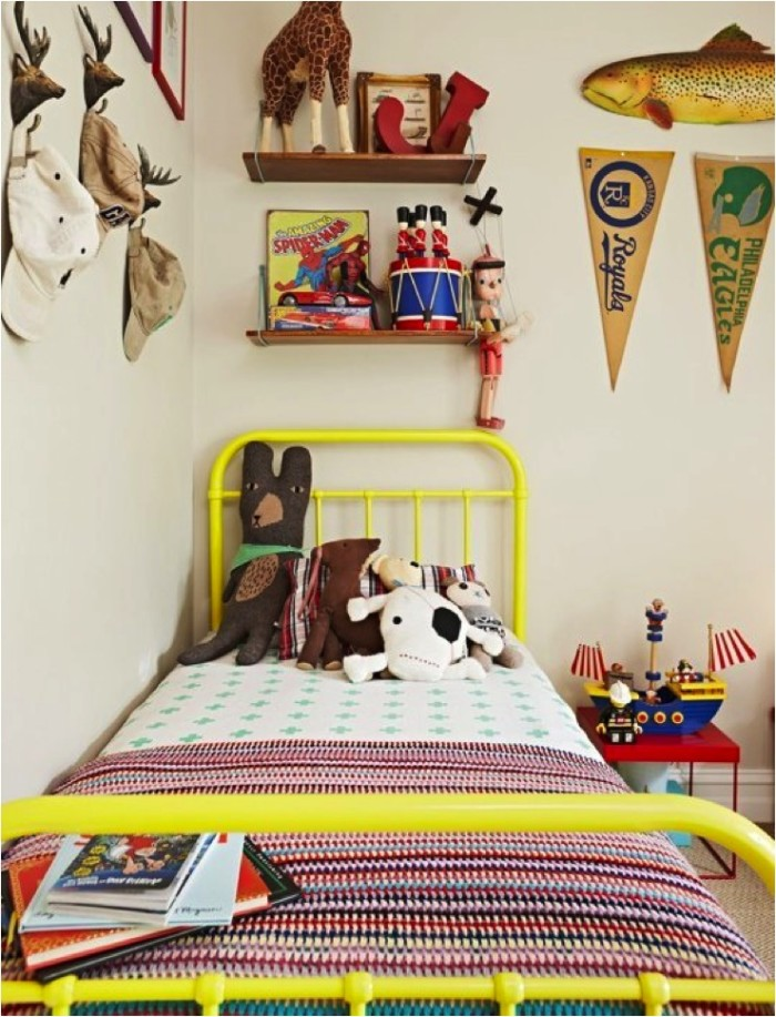 yellow bed in kids room