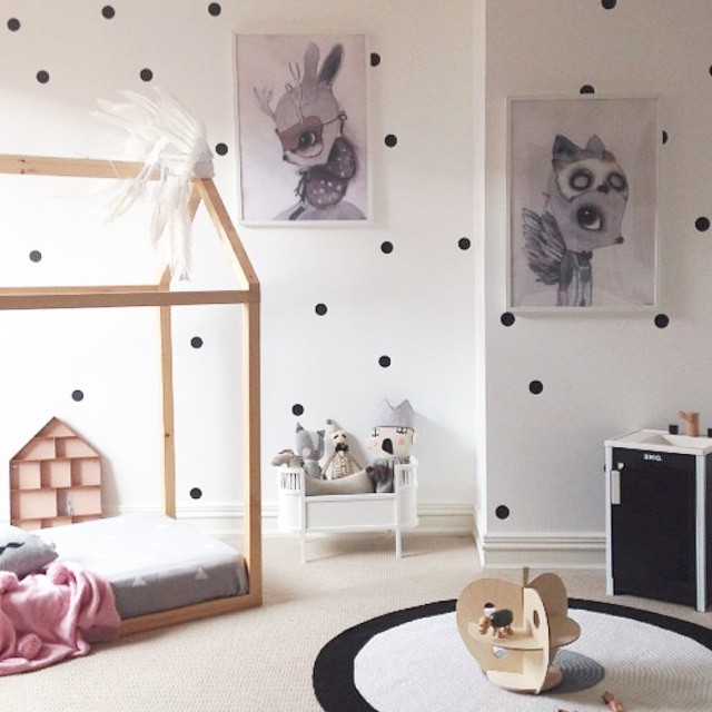 polka dot decorations for a bedroom