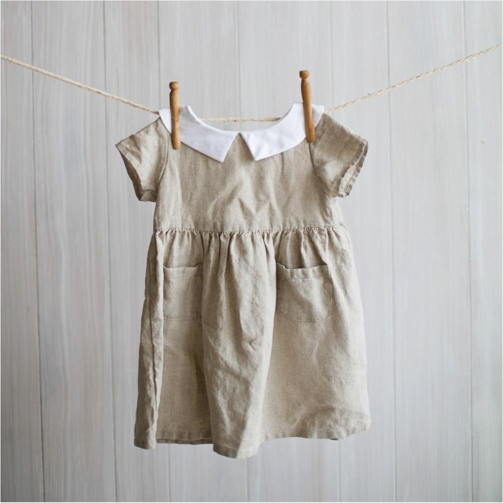 natural linen dress for girls