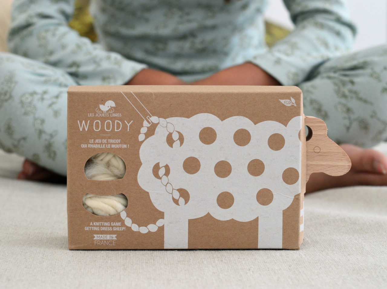 wooden knitting toy