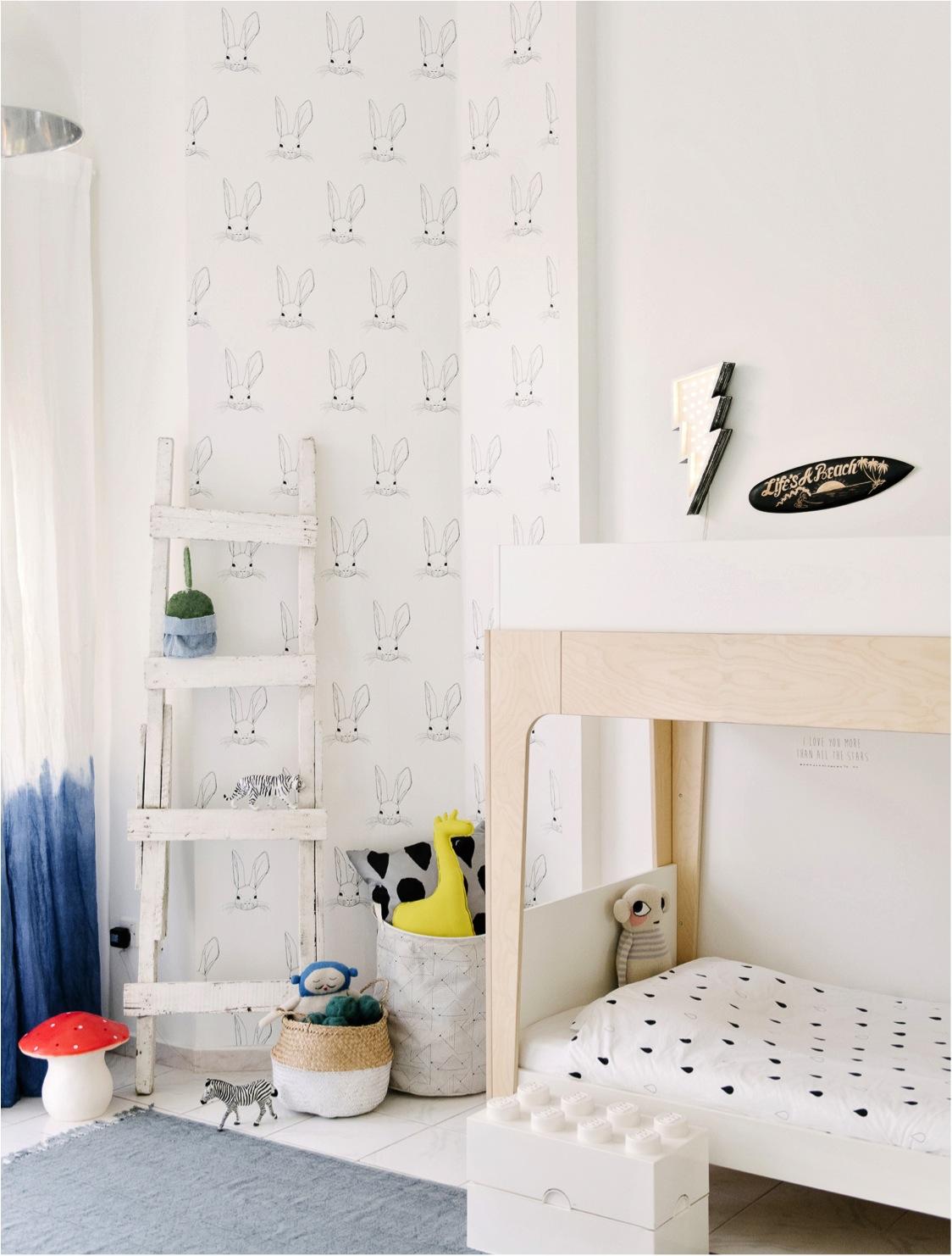 kids room wallpaper bunny print