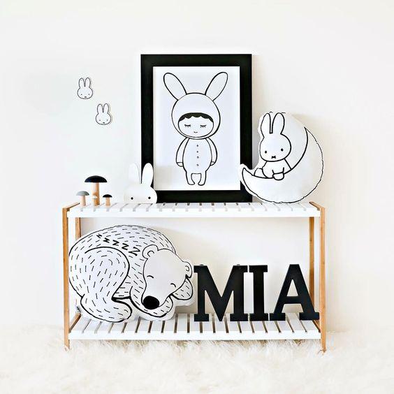 black and white decor kids room ideas