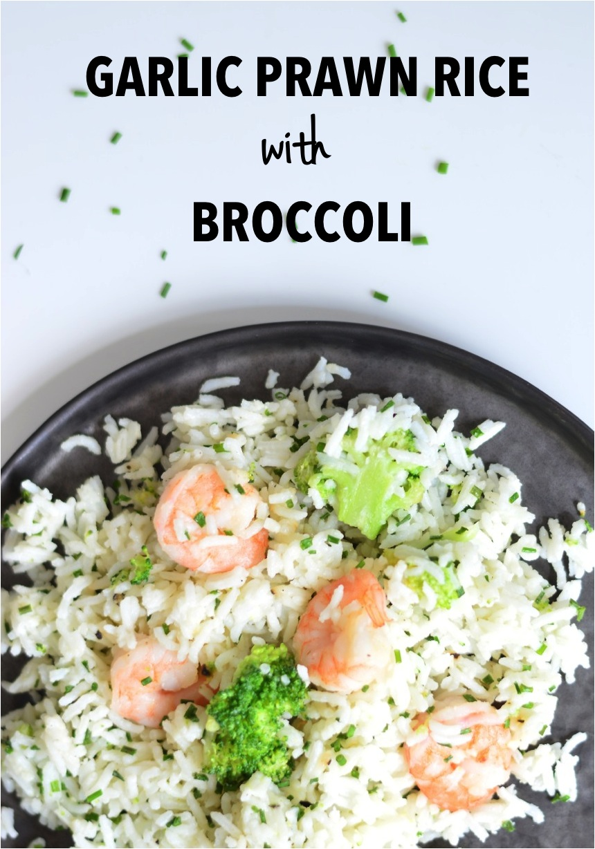 garlic prawn rice with broccoli